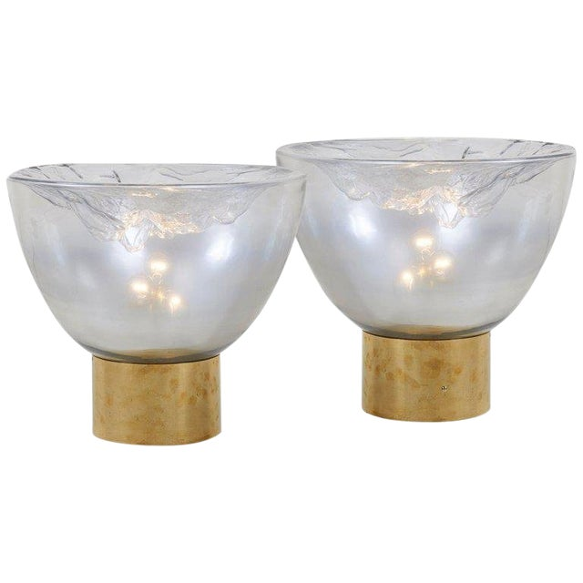 Impressive Huge Pair of Murano Glass and Brass Table Lamps For Sale