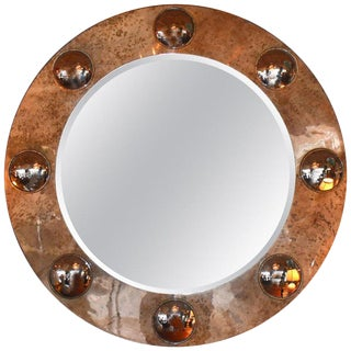 Contemporary Round Parchment Mirror For Sale