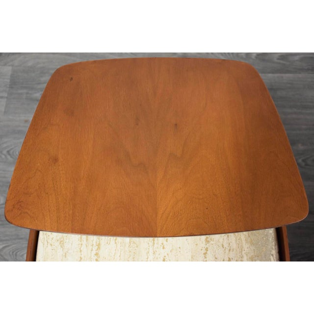 Wood Bertha Schaefer Walnut and Travertine End Tables - a Pair For Sale - Image 7 of 11