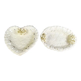 Vintage Capodimonte Porcelain Heart and Oval Shape Rose Floral Style Dishes - Set of 2 For Sale