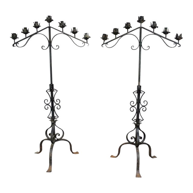 "61"" Pair of Antique Gothic Mission Arts & Crafts Wrought Iron Candelabras Church For Sale"