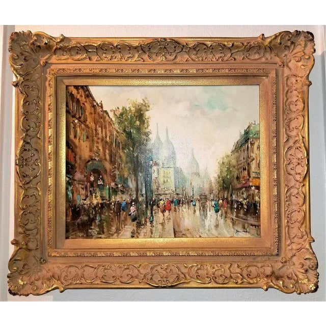Paris Montmarte Oil Painting on Canvas by Demone For Sale In Dallas - Image 6 of 6