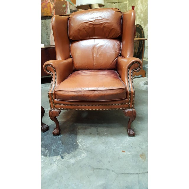 Rustic Schafer Brothers Leather Wing Chairs - Pair For Sale - Image 3 of 10