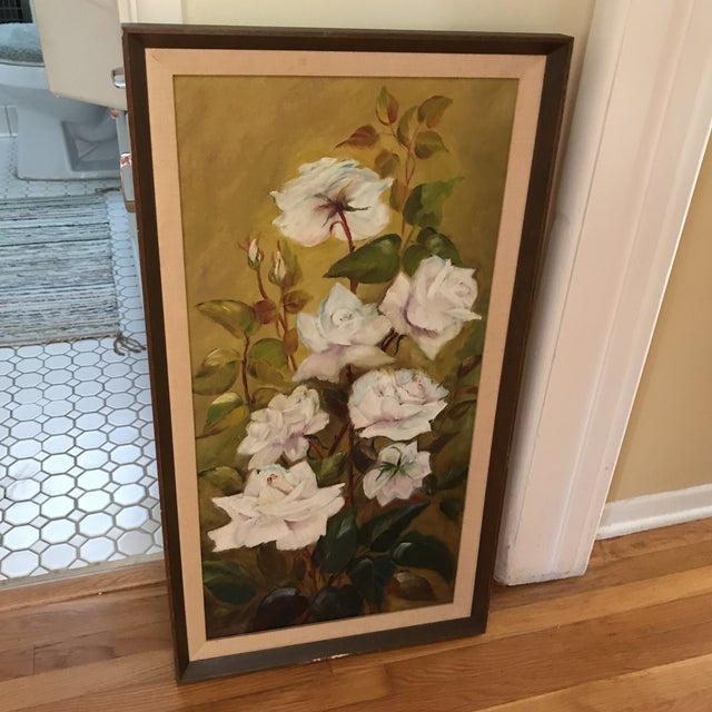 Vintage Blooming White Roses Framed Oil Painting For Sale In Los Angeles - Image 6 of 10