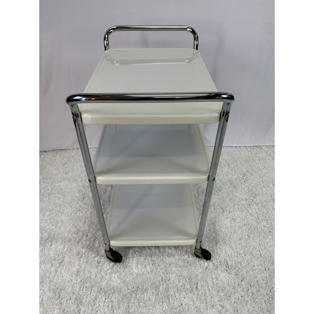 Mid-Century Modern Three-Tier Enameled Metal Serving Cart by Cosco Hamilton For Sale In Charlotte - Image 6 of 11