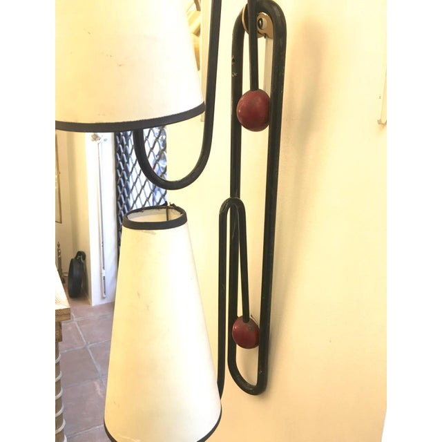 "Mid-Century Modern Jean Royere 2 Light Sconces Model ""Pointe Emery"" in Vintage Condition For Sale - Image 3 of 7"