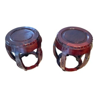 Vintage Carved Rosewood Chinese Drum Stools - A Pair For Sale