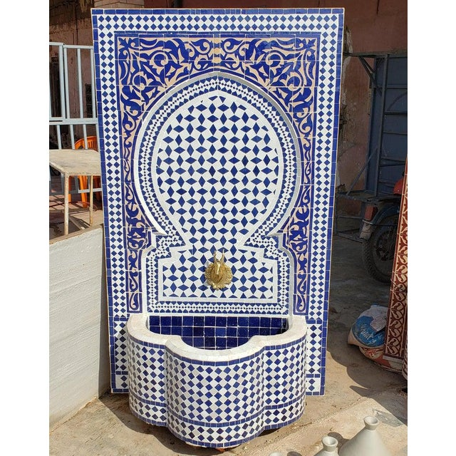 2010s Moroccan Mosaic Blue Fountain For Sale - Image 5 of 8