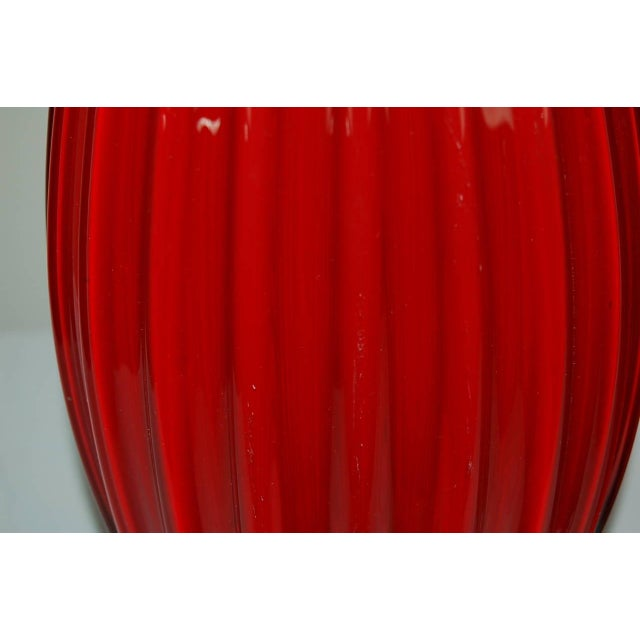 Glass Vintage Murano Glass Table Lamps Scarlet Red For Sale - Image 7 of 9