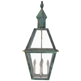 Large Hanging Solid Copper Lantern For Sale