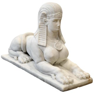 20th Century Egyptian Revival Marble Sphinx For Sale