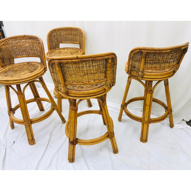 Blue Set Vintage Bamboo & Wicker Stools For Sale - Image 8 of 11