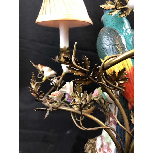 Ceramic Porcelain and Ormolu Parrot Lamp After Meissen, German, 3-Light For Sale - Image 7 of 8