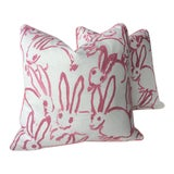 Image of Pink Lee Jofa Hunt Slonen Bunny Hutch Pillows - A Pair For Sale