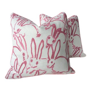 Pink Lee Jofa Hunt Slonen Bunny Hutch Pillows - A Pair For Sale