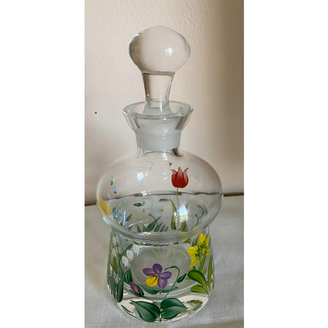 1970s Vintage Hand Painted Crystal Perfume Bottle With Stopper For Sale - Image 5 of 6