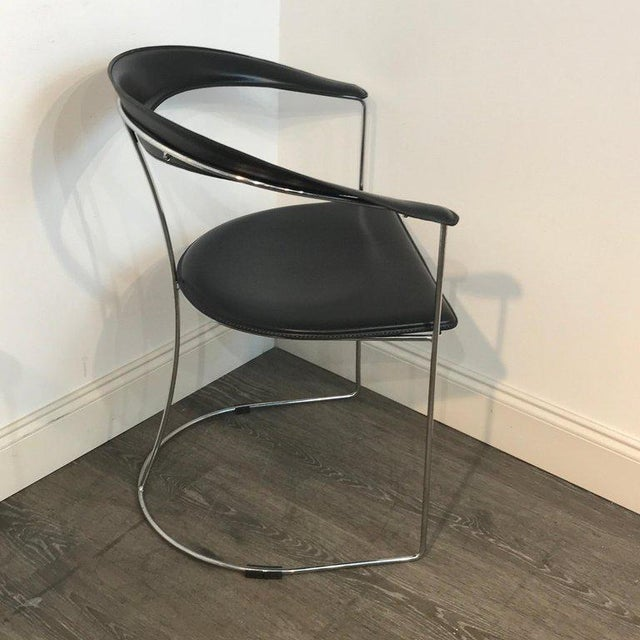 Five Italian Chrome and Black Leather Cantilever Armchairs, Handmade by Frag For Sale - Image 4 of 13