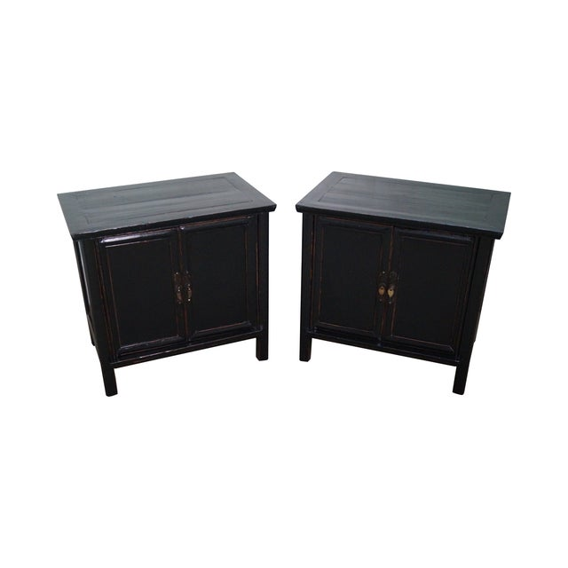 Rustic Black Chinese Cabinets or Chests - Pair - Image 1 of 10