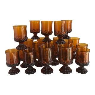 Vintage Amber Goblets Stemware - Set of 19