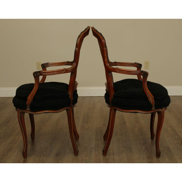 1950s French Louis XV Style Custom Quality Cane Back Fauteuil Armchairs - a Pair For Sale - Image 4 of 13