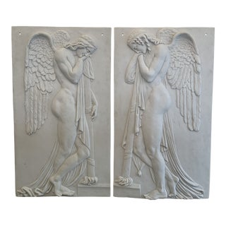 Vintage Winged Angels Plaques - a Pair For Sale