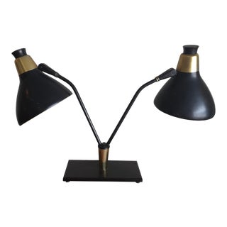1960s Mid Century Modern Double Headed Black Table or Desk Lamp For Sale