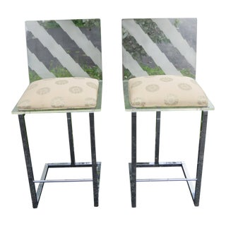 Hollywood Regency Set of Two Lucite and Chrome Metal Bar Stool Chairs For Sale