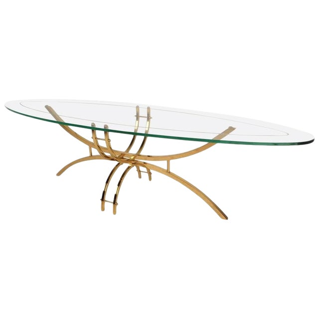 Contemporary Modern Glass and Brass Surfboard Coffee Table For Sale