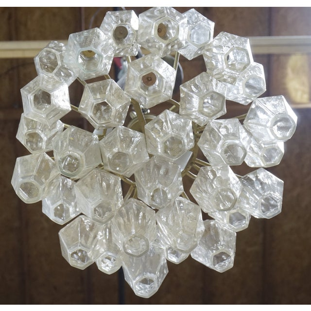 1950s Gold Flecked Glass Polyhedral Chandelier by Carlo Scarpa for Venini For Sale - Image 5 of 8