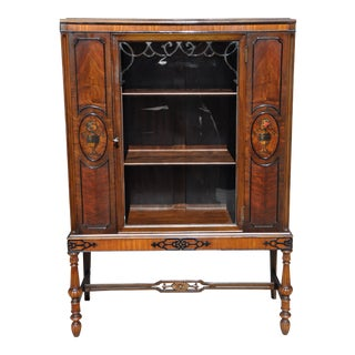 Berkey & Gay Hand Painted Victorian Mahogany China Display Cabinet For Sale