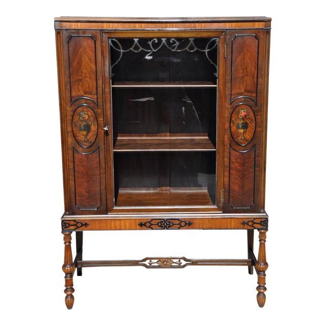 Berkey & Gay Hand Painted Victorian Mahogany China Display Cabinet For Sale