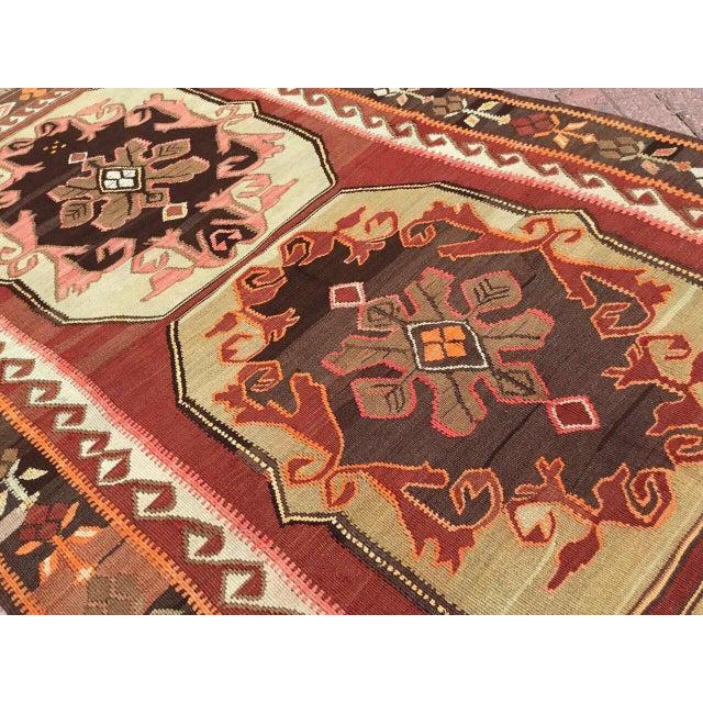 Vintage Turkish Kilim Rug For Sale - Image 4 of 11