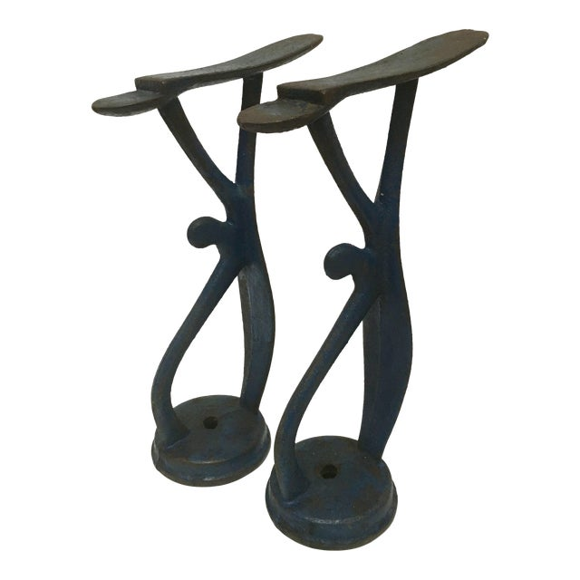 Antique Blue Cast Iron Shoe Shine Stands - A Pair For Sale