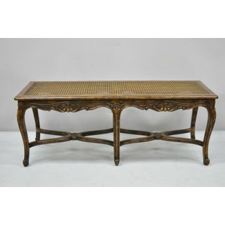 Vintage Mid Century French Provincial Louis XV Style Carved Walnut 6 Leg Bench Preview