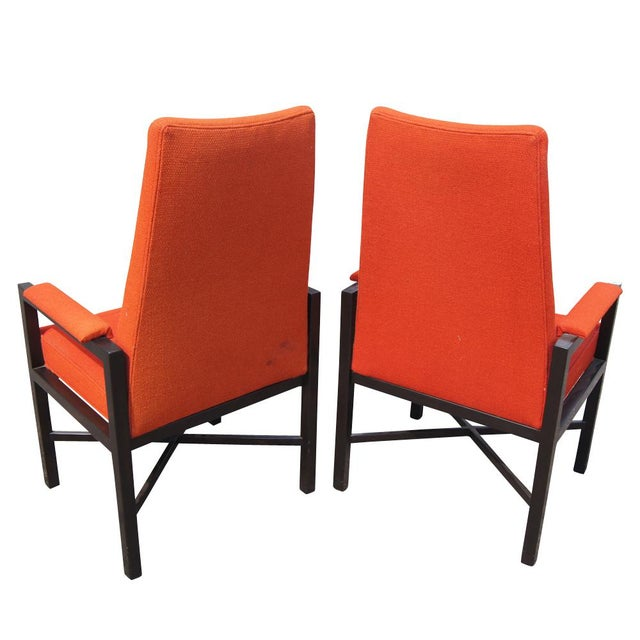 Asian Vintage Red Edward Wormley Dunbar Chairs - A Pair For Sale - Image 3 of 7