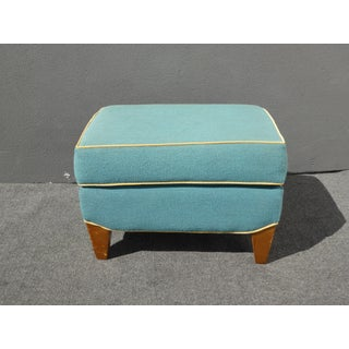 Turquoise Ottoman Bench Stool W Yellow Trim Preview