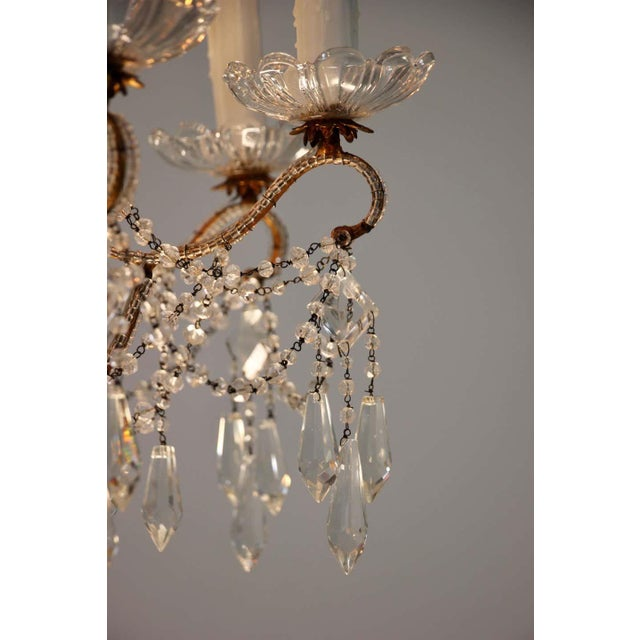 1940s Italian Crystal Beaded Chandelier For Sale In Los Angeles - Image 6 of 9