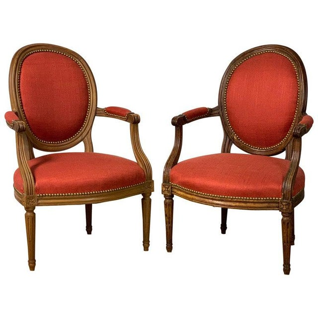 Pair of French Louis XVI Beechwood Fauteuils For Sale - Image 12 of 12