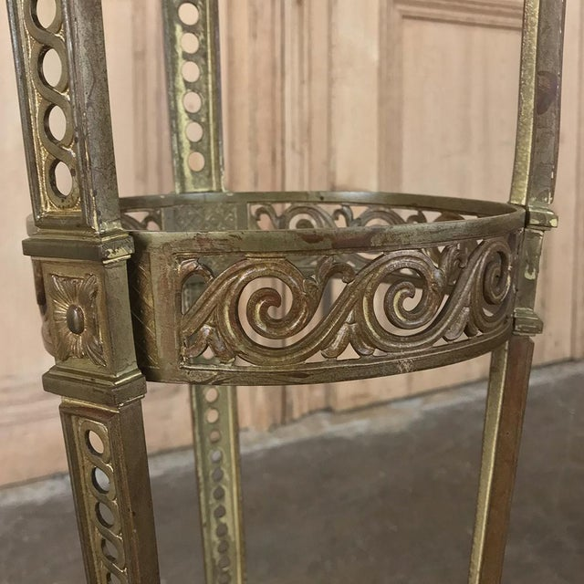 19th Century French Louis XVI Marble Top Brass Pedestal For Sale In Dallas - Image 6 of 12