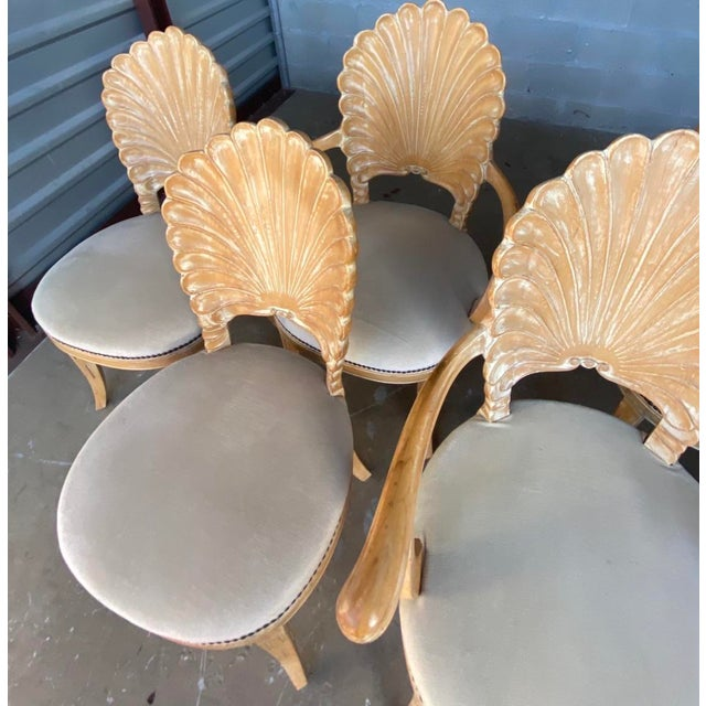 Vintage Hollywood Regency Hand Carved Grotto Chairs - Set of 4 For Sale In Miami - Image 6 of 7