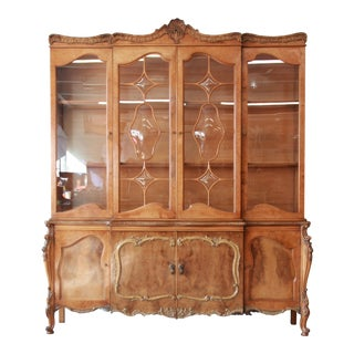 1960s Romweber Ornate Burl Wood French Carved Sideboard With Hutch For Sale