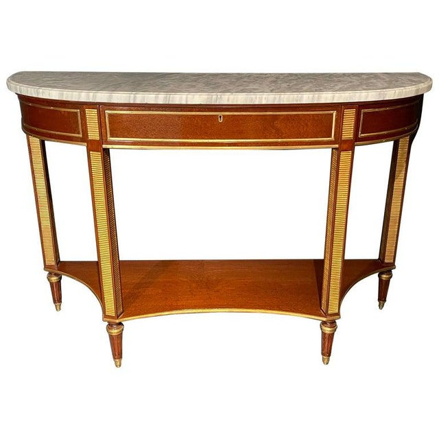 Russian Neoclassical Console / Sofa Table or Sideboard, Demilune For Sale - Image 10 of 10