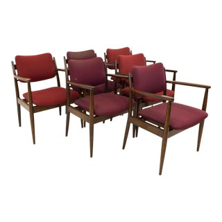 Lawrence Peabody for Nemschoff Mid Century Captains Dining Occasional Chairs - Set of 6 For Sale