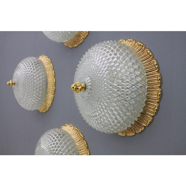 Hollywood Regency One of Four Limburg Wall Sconces With Textured Glass and Gilded Brass, 1970s For Sale - Image 3 of 9