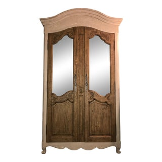 Acid Wash Mirrored Armoire For Sale