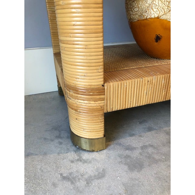 1970s 1970's Hollywood Regency Bielecky Brothers Rattan Wrapped Etagere For Sale - Image 5 of 8