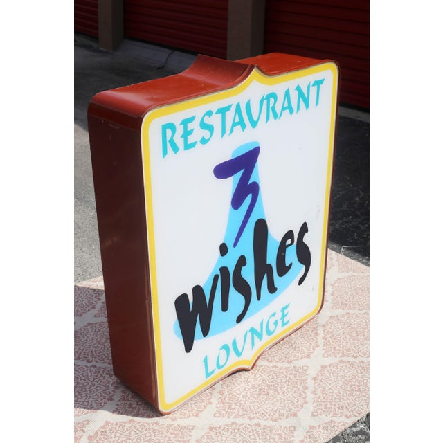 Mid-Century Modern Vintage Illuminated Commercial Sign From 3 Wishes Restaurant and Lounge For Sale - Image 3 of 12