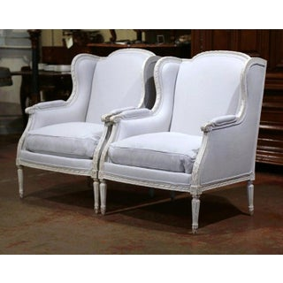Pair of 19th Century French Louis XVI Carved and Blue Grey Painted Armchairs Preview