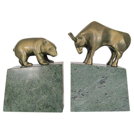 Bear and Bull Brass and Marble Bookends - A Pair - Image 1 of 7
