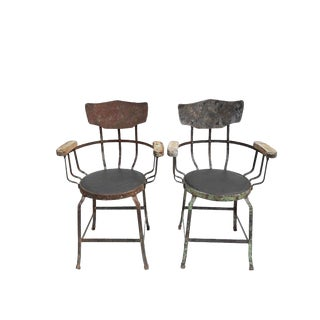 Antique French Industrial Rench Iron Loft Chairs - a Pair